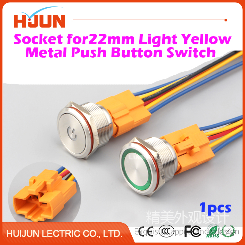 1pcs 22mm Socket for Light Yellow Metal Push Button Switch with 6 Wires Stable Lamp Light Terminals Base Use Easy Installation 660v ui 10a ith 8 terminals rotary cam universal changeover combination switch