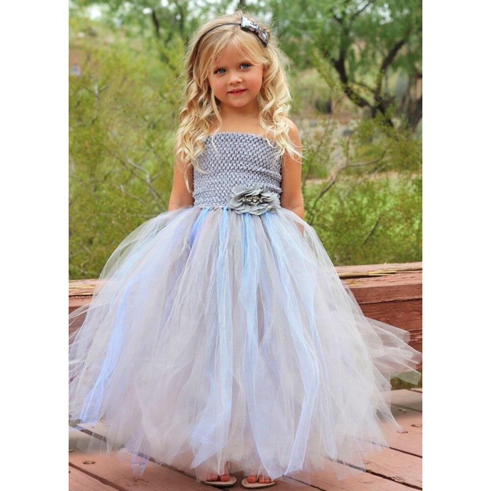 Hellblau und Silber Blumenmädchen Hochzeit Kleid Sommer Party Baby ...