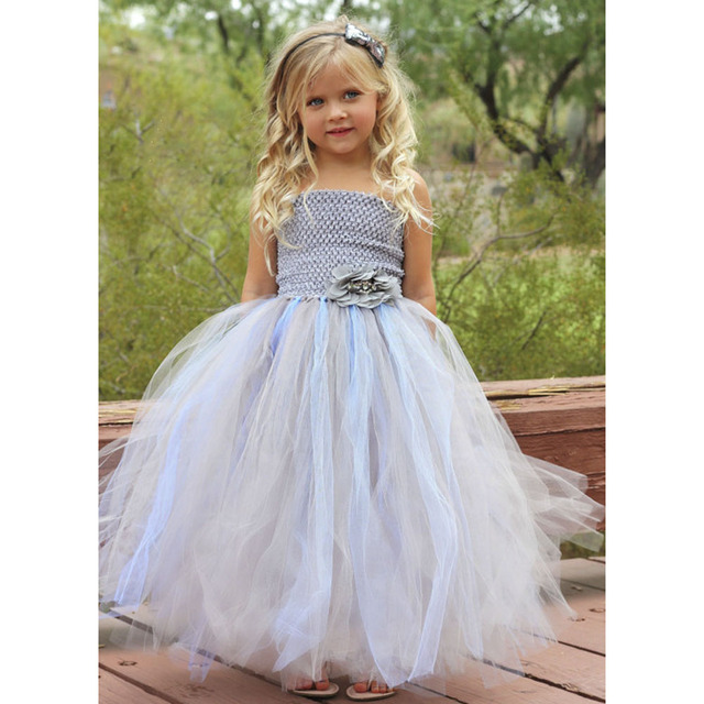 Light Blue and Silver Flower Girl Wedding Dress Summer Party Baby ...