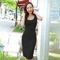Caliente 2017 corea compra correas chaleco que basa delgado verano femenino del color sólido de algodón modal dress paquete hip casual dress niño