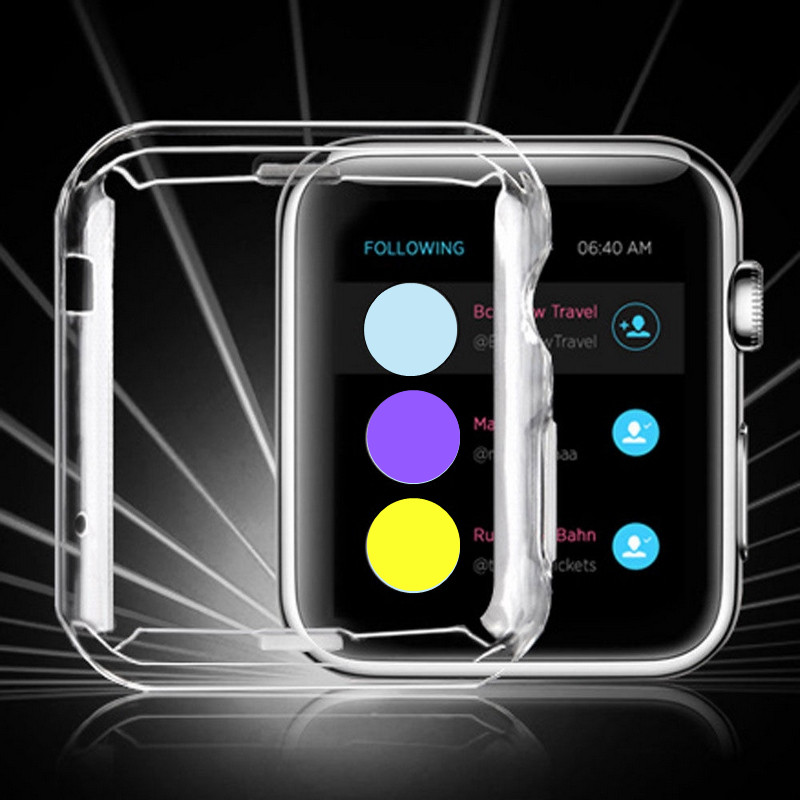 1PC Hot 38/42mm Transparent Frame Case Clear Ultra Thin TPU Silicone Protective Cover For Apple Watch Series 3/2 protective silicone back case for iphone 5 transparent blue