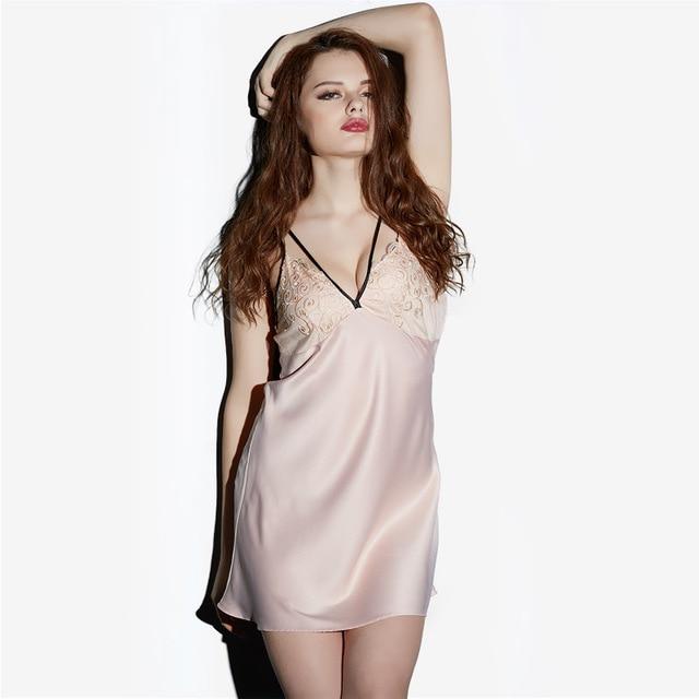 2018 Summer Autumn New Women Nightdress Satin Sleepwear Silk Nightgown Sexy  Women Deep V neck Slim Sexy Female Lingerie 2XL XL 08fcb4648