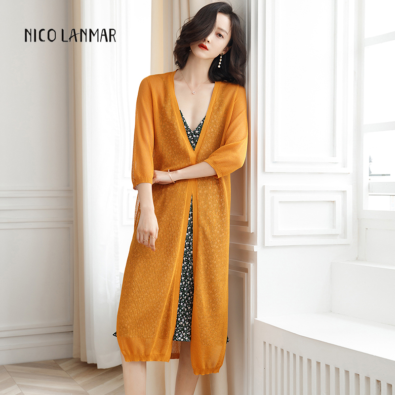 Ice-silk Knit Women Cardigan Coat Summer Seven-point Sleeve Air Conditioning/Sunscreen Shirt Long Ladies Cardigans Shawl Clothes