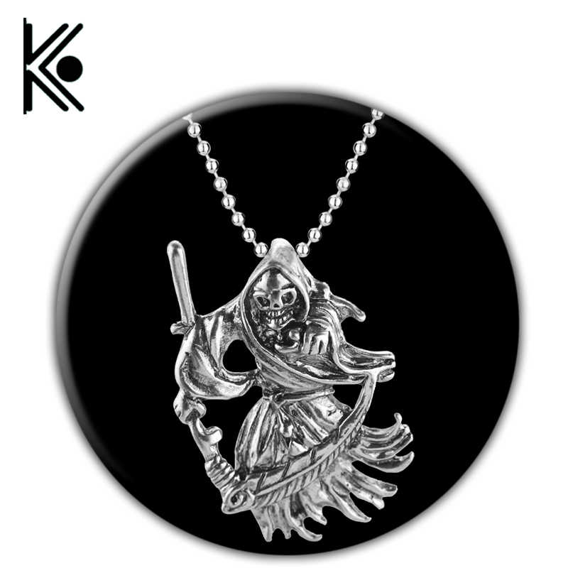 Gothic Jewelry Retro Punk Skeleton Charm Pendant  The Death Grim Reaper Necklace For Men  skeleton jewelry