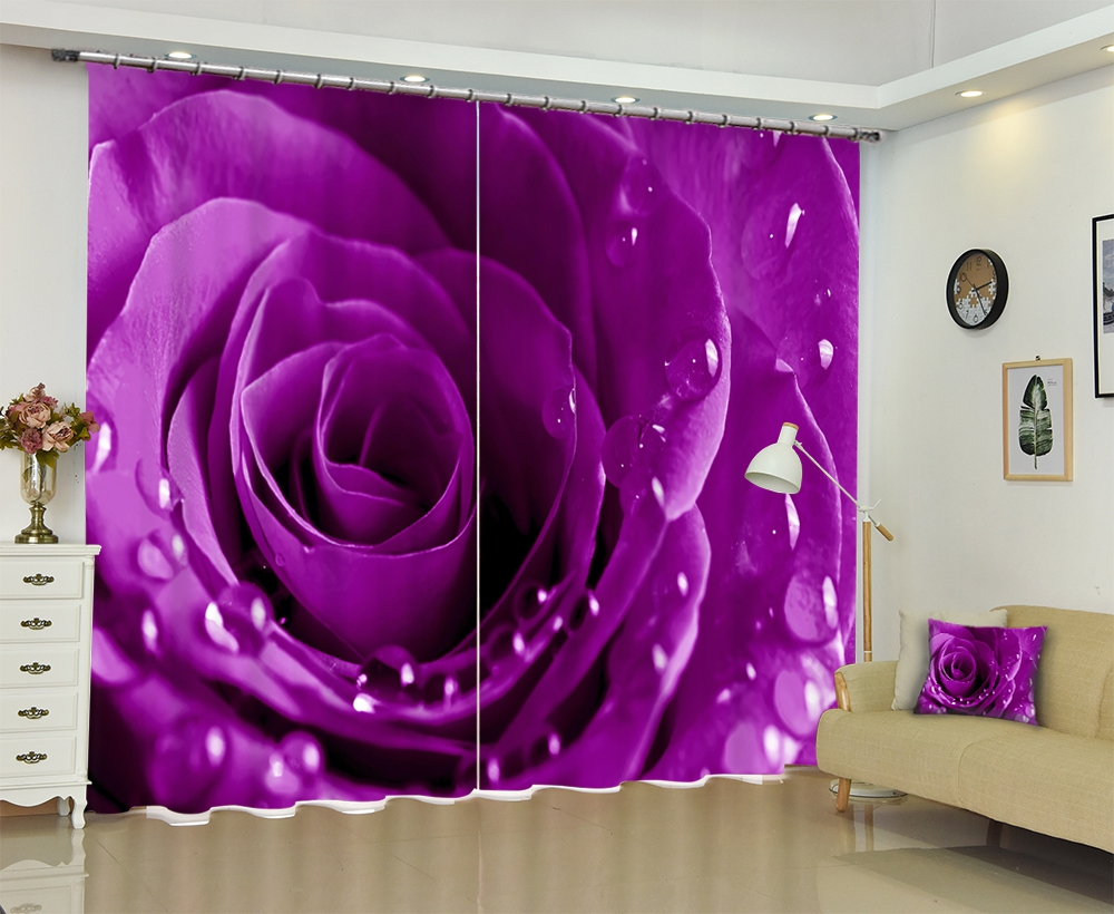 Purple Rose Luxury Modern 3D Blackout Window Curtains Drapes For Living room Bed room Office Hotel Wall Tapestry Cortinas Purple Rose Luxury Modern 3D Blackout Window Curtains Drapes For Living room Bed room Office Hotel Wall Tapestry Cortinas
