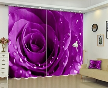 Purple Rose Luxury Modern 3D Blackout Window Curtains Drapes For Living room Bed room Office Hotel Wall Tapestry Cortinas