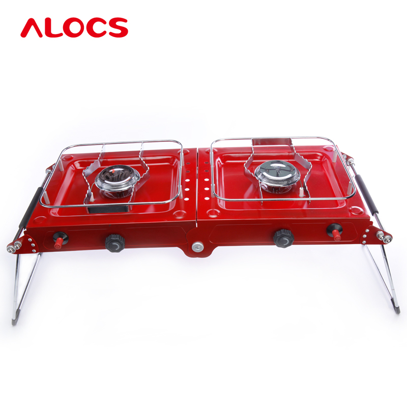 Outdoor Folding Cooking ALOCS Portable Phantom Series Double Gas Camping Stove Stainless Steel Burners Grills Gold Color CS-G06 apg 1100ml camping gas stove fires cooking system and portable gas burners