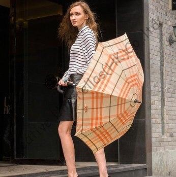 Auto open fashional British check design umbrellas,190T pongee fabric,long-handle umbrella,straight umbrella,rain gear,minigolf