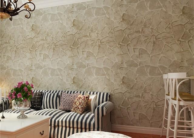 hanmero 3d effekt tapete schwarz ziegel stein muster vinyl wandverkleidung qz0450. Black Bedroom Furniture Sets. Home Design Ideas