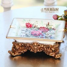 Luxury European style retro large ceramic ashtray fashion decoration Home Furnishing housewarming gift