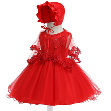 Free Shipping 6-24 Month Formal Infant Dresses 2019 New Arrival Red Baby Dress For 1 Year Girls Birthday Cute  Christening Gowns 2017 custom for baby girls baptism dress infant girls birthday gown flower lace applique christening dress 3 6 9 15 18 24 month