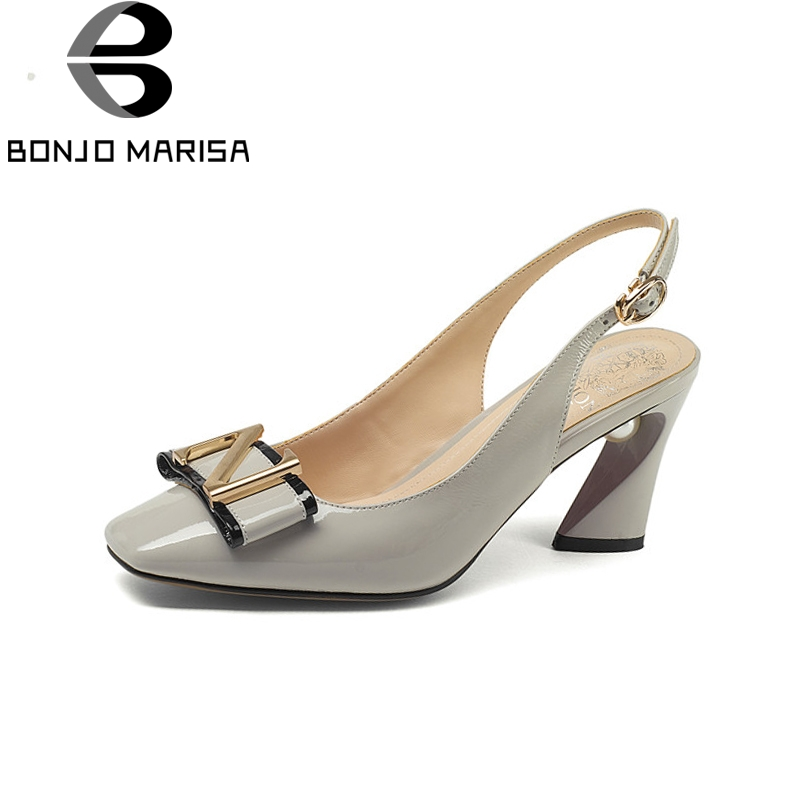BONJOMARISA Brand New Genuine Leather Square High Heels Solid Metal Decoration Bowtie Shoes Woman Casual Summer Pumps bonjomarisa brand new genuine leather square high heels solid metal decoration bowtie shoes woman casual summer pumps