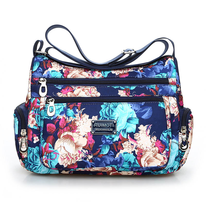 National Floral Pattern Women Crossbody Bag High Quality Waterproof Nylon Shoulder Bag Fashion Multi-pocket Women Messenger Bag 2