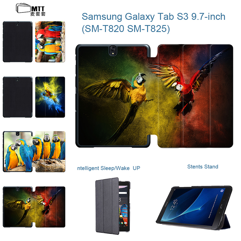 Parrot Painted PU Leather Case For Coque Samsung Galaxy Tab S3 9.7 Case SM-T820 tablet Stand Flip Coque Tab S3 Cover SM-T825 cartoon owl for samsung galaxy tab 3 10 1 inch p5200 p5220 p5210 cases pu leather tablet cover case skin shell fundas coque