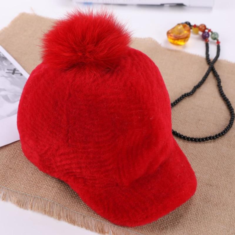 Женская меховая шапка KWA641, теплая зимняя шапка из меха овчины с помпоном из лисьего меха, 2019|Женские кепки с козырьками камуфляжыне|   | АлиЭкспресс
