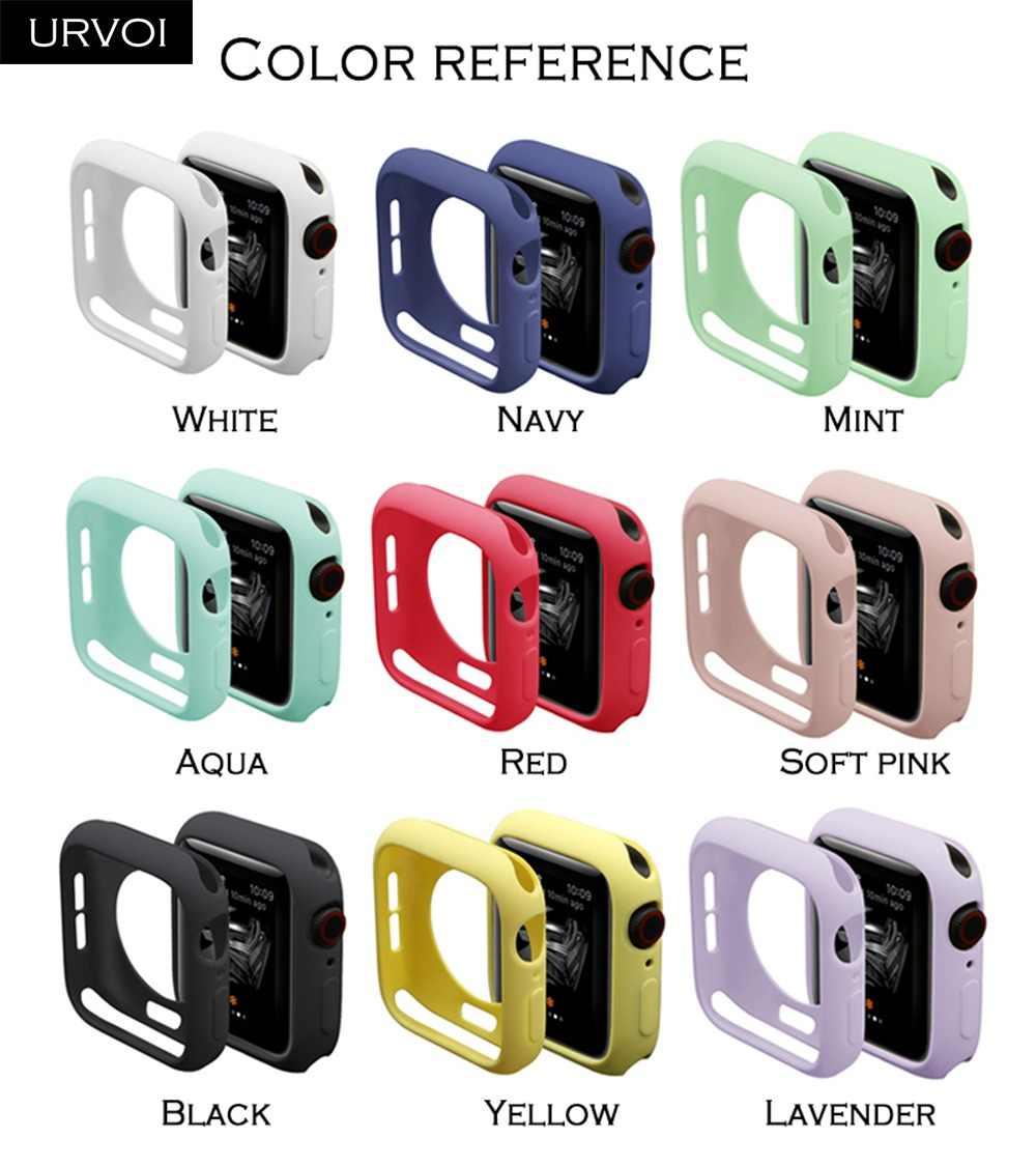 URVOI פגוש עבור apple watch סדרת 4 3 2 מקרה עבור iwatch צבעים בוהקים TPU כיסוי slim fit מגן דק במיוחד מסגרת להקת 40 44mm