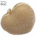 Caixa de Coração de Cristal De Ouro Noite Saco de Ombro das senhoras Bolsas e Bolsas de Embreagem Das Mulheres Do Partido Nupcial Do Casamento de Prata do Metal Garras