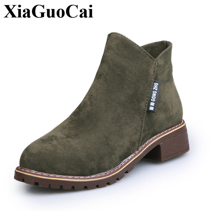 2017 New Winter Autumn Boots Women Casual Shoes Slip-on Square High Heel Ankle Boots Scrub Leather Female Martin Boots H478 35 new autumn winter warm women shoes snow boots square high heels artificial leather top casual female elastic band ankle shoes