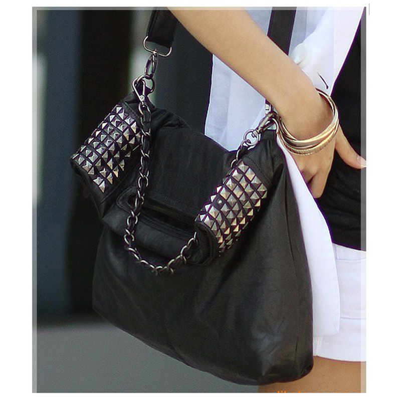 Hot Fashion Women's Korean Faux Leather Rivet Chain Foldable Shoulder Handbag Cross Body Bag