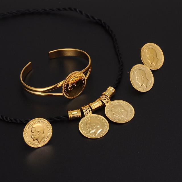 Gold coin jewelry sets gold color ethiopian coin set necklace gold coin jewelry sets gold color ethiopian coin set necklace pendantearringsring habesha aloadofball Images