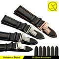 Genuine pulseira de couro de bezerro + butterfly fivela pulseira para bandas relógios homem pulseira em tamanho 20mm 22mm para iwc para omega