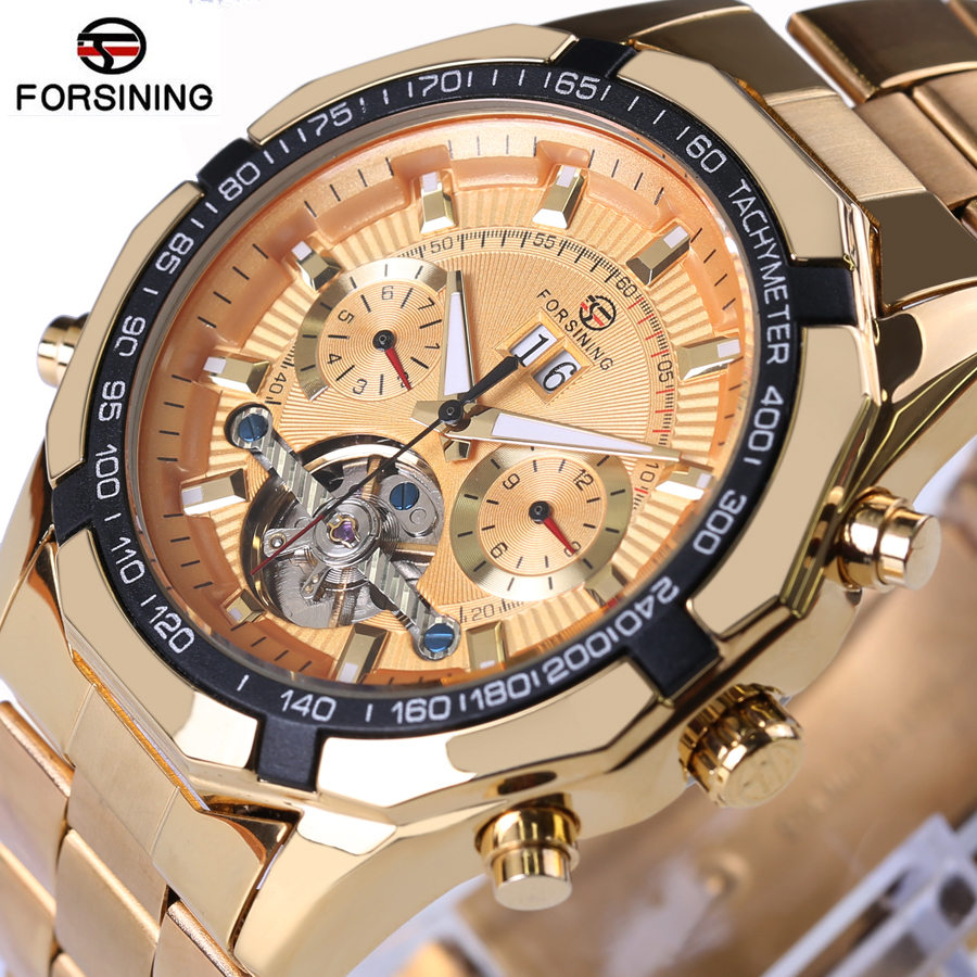 FORSINING Mechanical Watches Stainless Steel Men Automatic Flying Tourbillon Watches Men's Big Gold Wrist Watch Relogio forsining tourbillon designer month day date display men watch luxury brand automatic men big face watches gold watch men clock