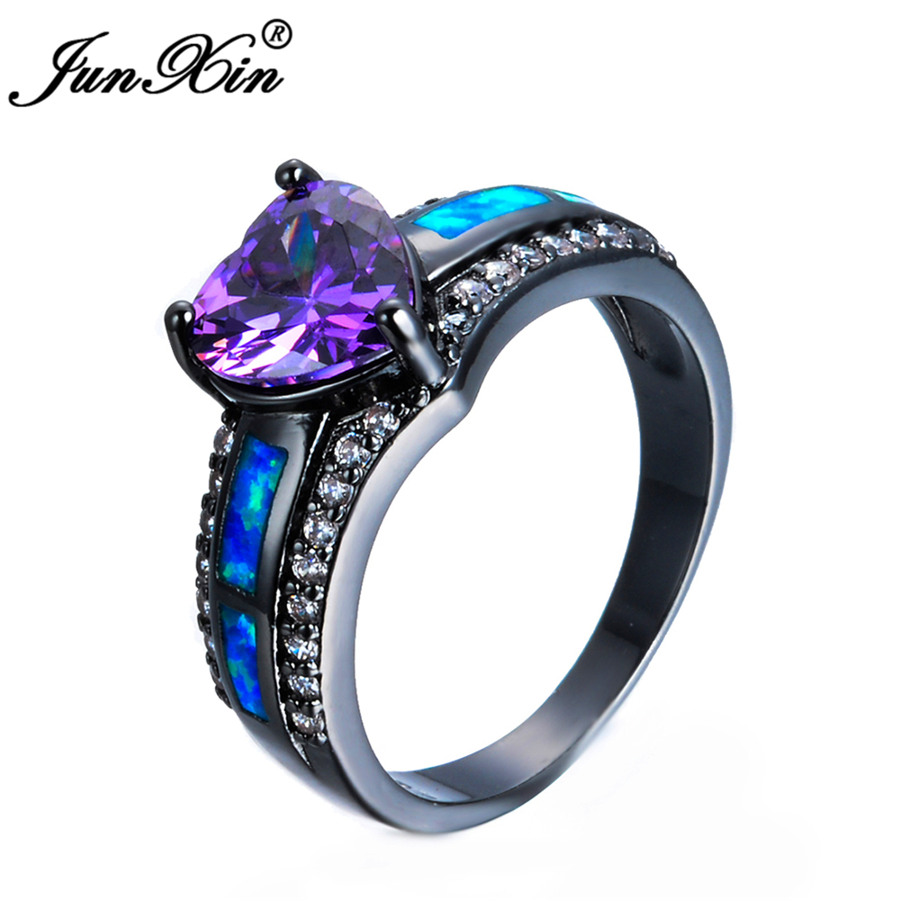 JUNXIN Charm Female Blue Fire Opal Heart Ring Elegant Purple Ring