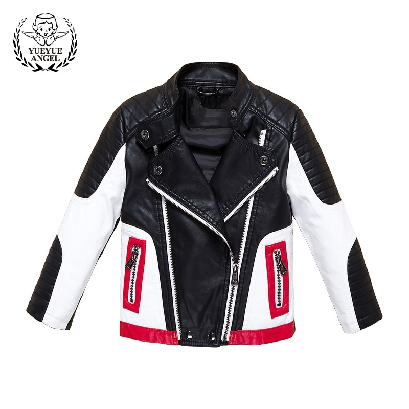 Boys Pu Leather Jacket Stand Collar Windbreaker Colors Mixed Fashion Outwear Coat 2018 New Korean Biker Jacket Casual Streetwear stand collar zip up argyle pu leather spliced design jacket