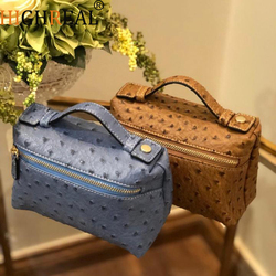 New Customize Design with Ostrich Pattern Genuine Leather Handbags Female Party Clutch Bag Trendy Bag
