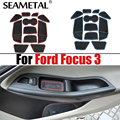 11Pcs With Logo Car-Styling Latex Anti Non Slip Gate Slot Pad Mat For Ford Focus 3 Low/High Match 2012 2013 2014 LHD On Car Door