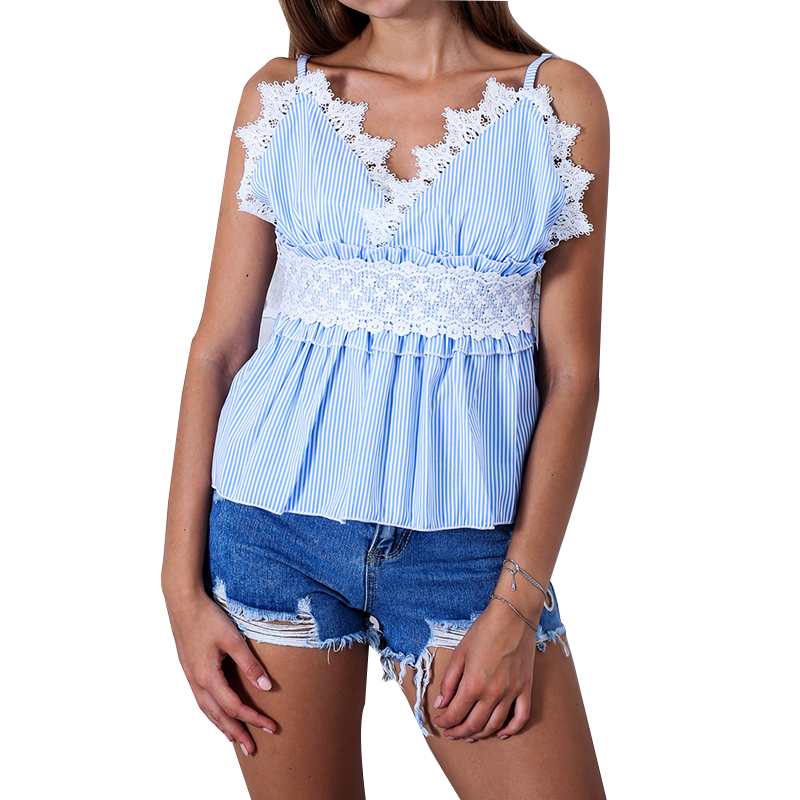 Elegant Lace Patchwork Crochet Spaghetti Strap Tank Top Women Tops Sexy Striped Femme Camis 2018 Summer WS8743F