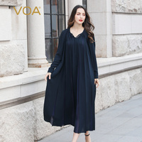 VOA Plus Size Abaya Dubai Women Muslim Hijab Dress Kaftan Luxury Silk Islamic Clothing Islam Caftan Turkish Jilbab Qatar A10117
