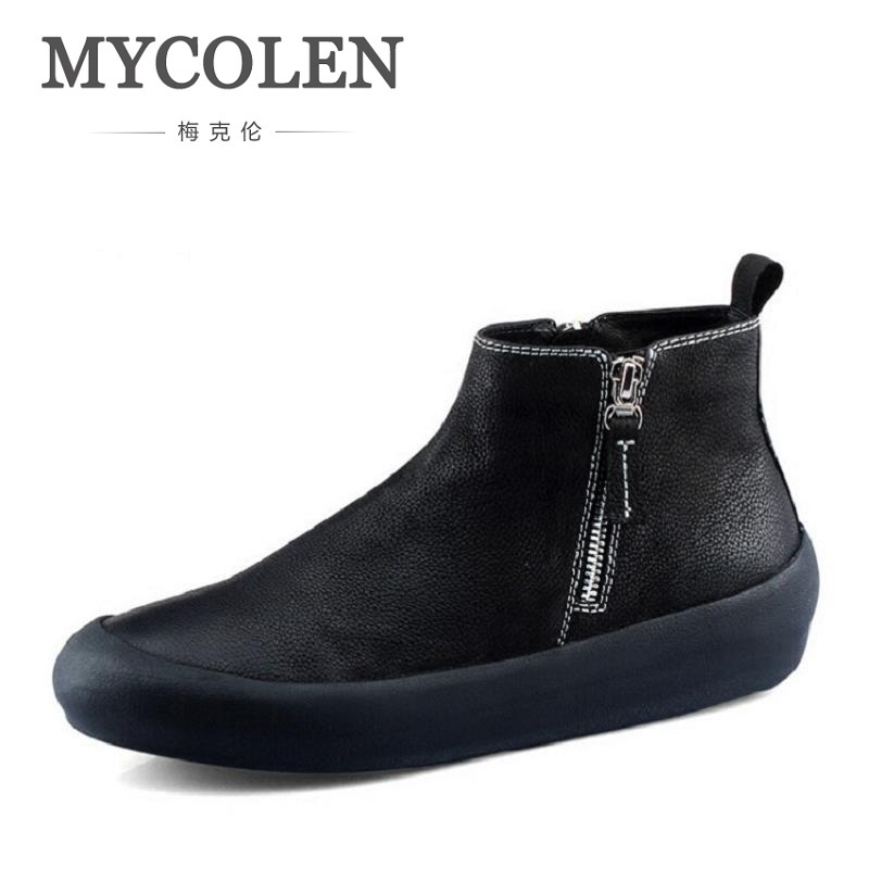 MYCOLEN Handmade Men Genuine Leather Winter Boots High Quality Brand Men Shoes Casual Ankle Boots For Men Botas Masculinas