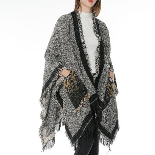 2018 Frauen Winter Leopard Taschen Fringe Warme Ponchos Aztec Stil Oversize Stricken Capes Maglie Donna Invernali