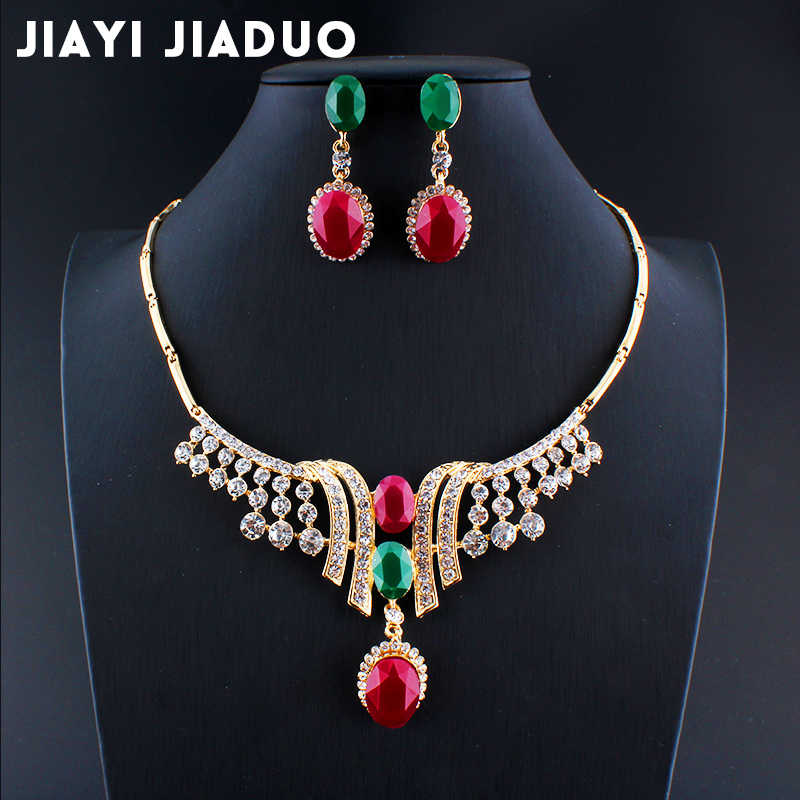 jiayijiaduo african beads beautiful women fashion Gold-color India wedding jewelry set for women garment accessories in India