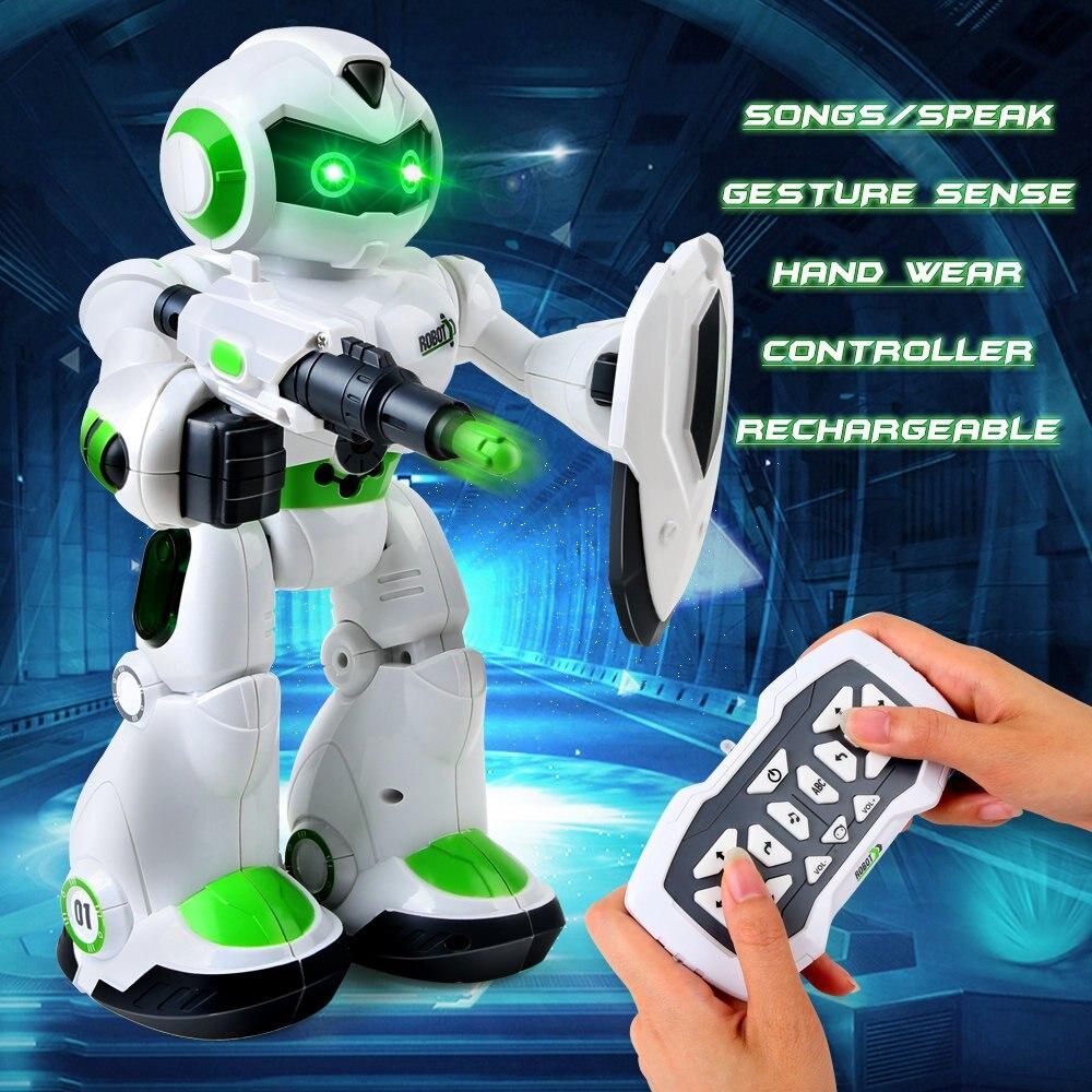 Robot télécommandé, robotique intelligente pour les enfants avec sens gestuel, yeux LED, chant, danse et parler, jouets éducatifs