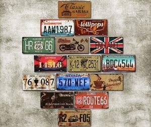 Vintage Decor Retro Car License Metal Plate Garage Cafe Bar Pub Car Number Metal Signs Motor Oil Decorative Tin Sign