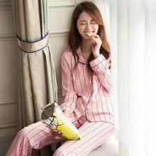 Women s Silk Pajamas Long Sleeves Nightgown Striped Sleepwear For Ladies In Autumn Satin Pyjamas Nightwear