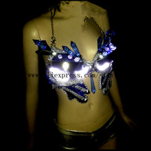Fashion Led Luminous Sexy Lady Bra Crystal Evening Dress Led Light Growing Stage Clothes DS Women Dance Costume Party Supplies