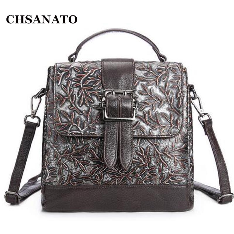 CHSANATO Famous Women Embossed Flower Backpacks Flap School Backpack Genuine Leather Ladies Small Shoulder Bag high quality genuine leather women backpacks female embossed flower backpack school bag vintage coffee ladies travel bags l0244
