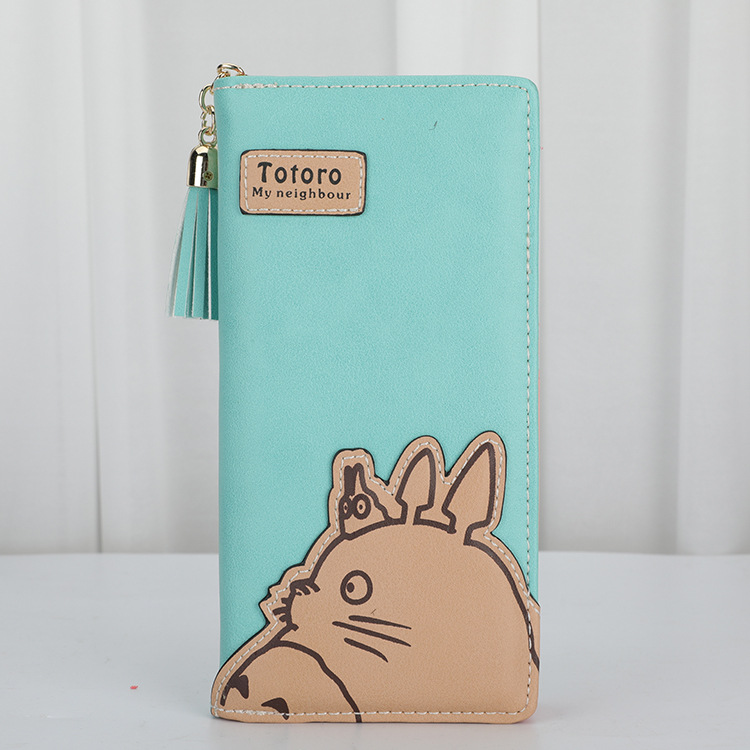 Women My Neighbor Totoro Wallets PU Leather Long Style Girls Card Holder Cartoon Cute Cat Coin Purse Phone Pocket Clutch