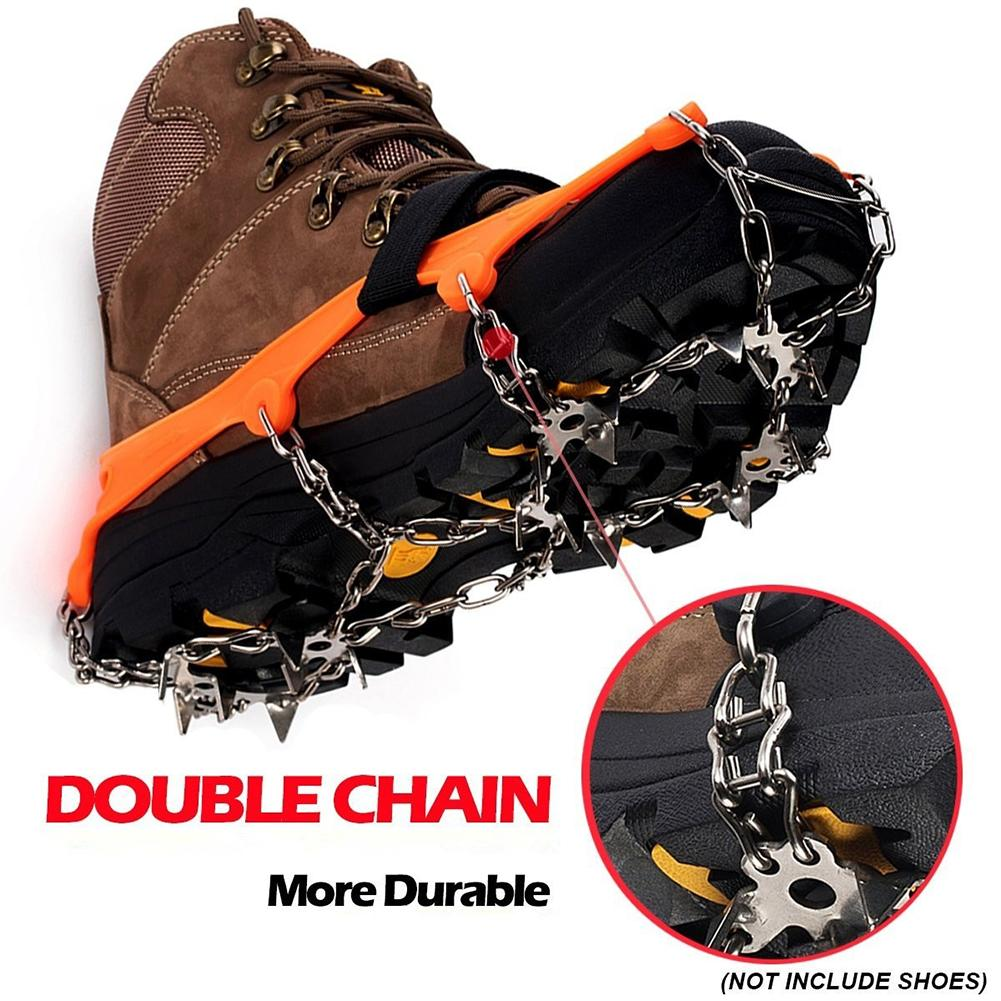 1 Pair 13 Teeth Ice Snow Grips Crampon Winter Hiking Climbing Shoes Cleats Chain Ice Gripper
