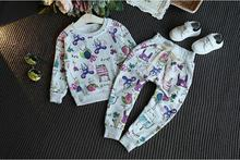New Spring autumn children girl clothing set baby sports Graffiti Print costume kids Blouse+Pants clothing set 2 pcs suit
