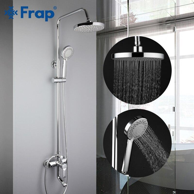 FRAP Shower Faucets Bath Shower Mxier System Bathroom Shower Faucet Bathtub Faucet Rainfall Round Shower Head Set Mixer Faucet
