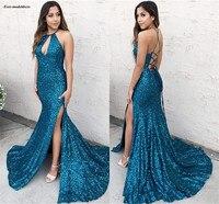 Блестящие Синий блёстки Русалка Выпускные платья 2019 Корсет спинки Bodycorn официальная вечеринка с разрезом vestidos de baile