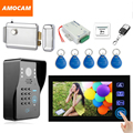 "7"" Touch Video Doorbell Kit ID Keyfobs Password Code Exit Electronic Door Lock Wired Video Door Phone Intercom System"