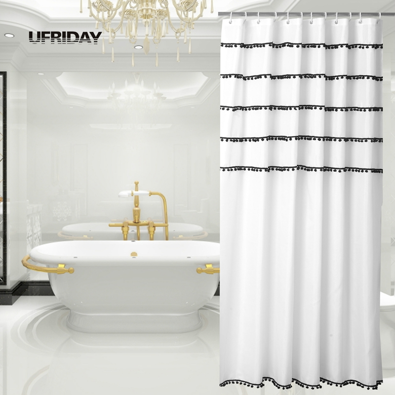 Ufriday tassels shower curtain black and white decorative shower curtains for bathroom urban for Black and white bathroom shower curtain