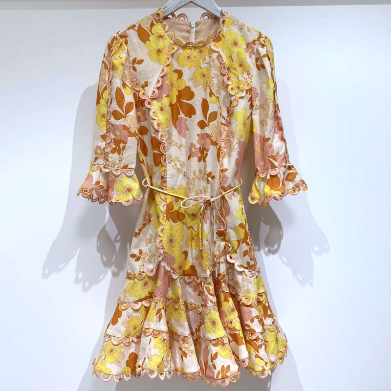 Vintage Sweet Flower Dress for Women Short Sleeve Lady Top Quality Dress for lady 2019 New Women Fashion Dress