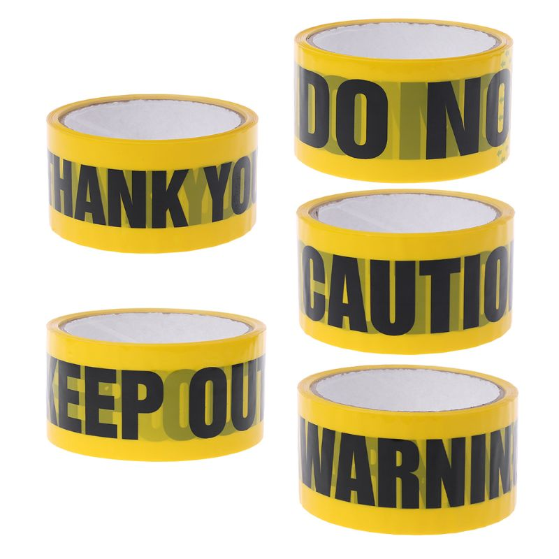 1 Roll 25m Yellow Opp Warning Tapes Caution Mark Work Safety Adhesive Tapes DIY Sticker For Mall School Factory 10166