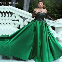 New Arrival Green Long sleeve Evening dresses 2019 Black Lace appliques A line Evening gowns Abiye gece elbisesi